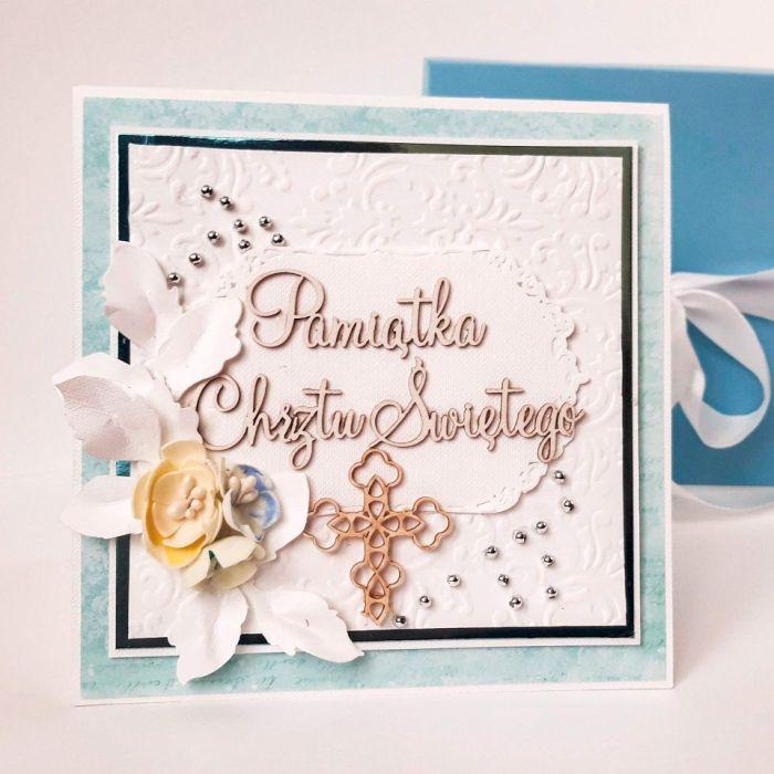 Kartka na Chrzest -pamiątka chrztu w pudełku - Pamiatka chrztu świętego, pamiątka chrztu św