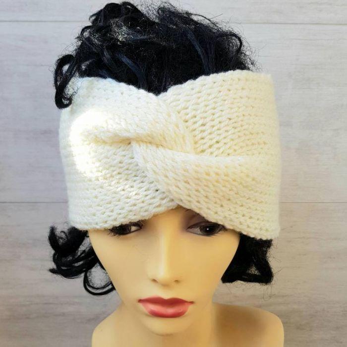 Opaska zimowa turban śnieżna biel - opaska na drutach