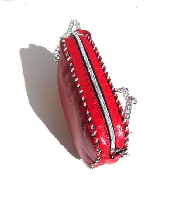 Skórzana torebka bransoletka z koralikami