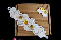Żółta biżuteria ślubna, komplet ślubny sutasz SVAROVSKI