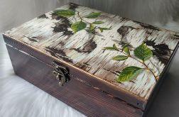 duża szkatułka z zameczkiem z korą brzozy