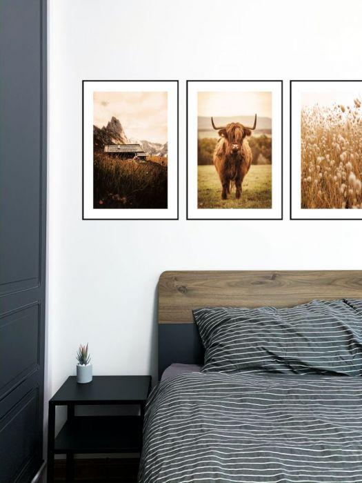 Zestaw 3 Plakaty Boho Natura Krowa Góry - Zestaw 3 Plakaty Boho Natura Krowa Góry