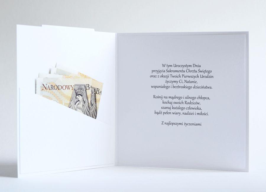 GARNITUREK kartka na komunię dla chłopca - kieszonka na banknoty