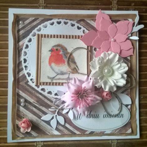 kartka z ptakiem