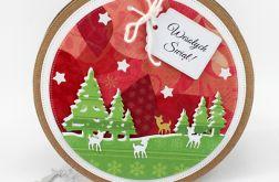 Okrągła kartka świąteczna renifer KBN142