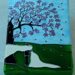 Drzewo szczęścia... Kartka ślubna na płótnie