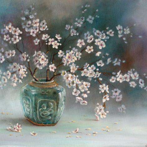 Kwitnąca Wiśnia, ręcznie malowany, olej