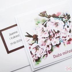 Kartka ŚLUBNA z grafiką - różowe kwiaty