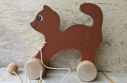 Drewniany kotek do ciągania, brązowy