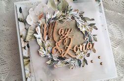 kartka ślubna z wiankiem