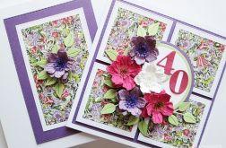 Kartka URODZINOWA fioletowo-różowe kwiaty