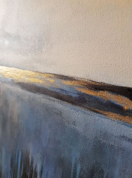 Abstrakcja ze złotem -obraz akrylowy 60/60 cm
