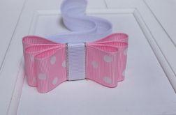opaska niemowlęca różowa w  kropki
