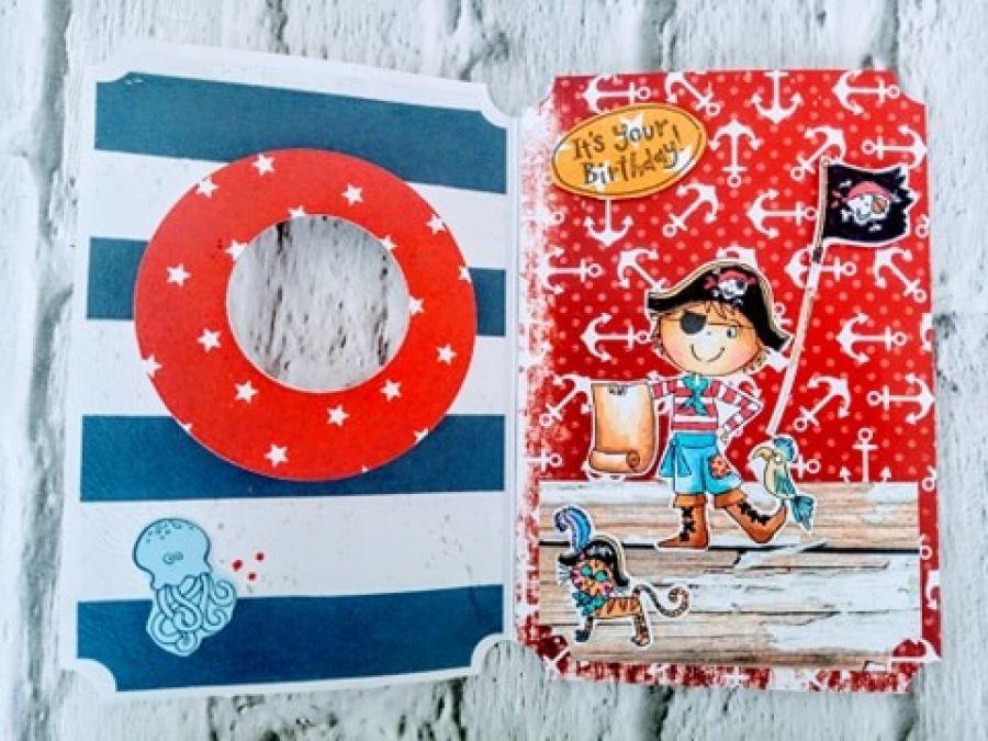 Kartka z okienkiem - pirackie urodziny -