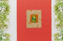 Czerwona kartka świąteczna mała choinka