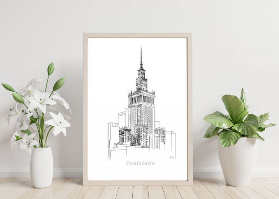 grafika Warszawa PKIN styl skandynawski - plakat do biura