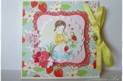 Kartka w pudełku dla dziewczynki na urodziny, narodziny, chrzest...