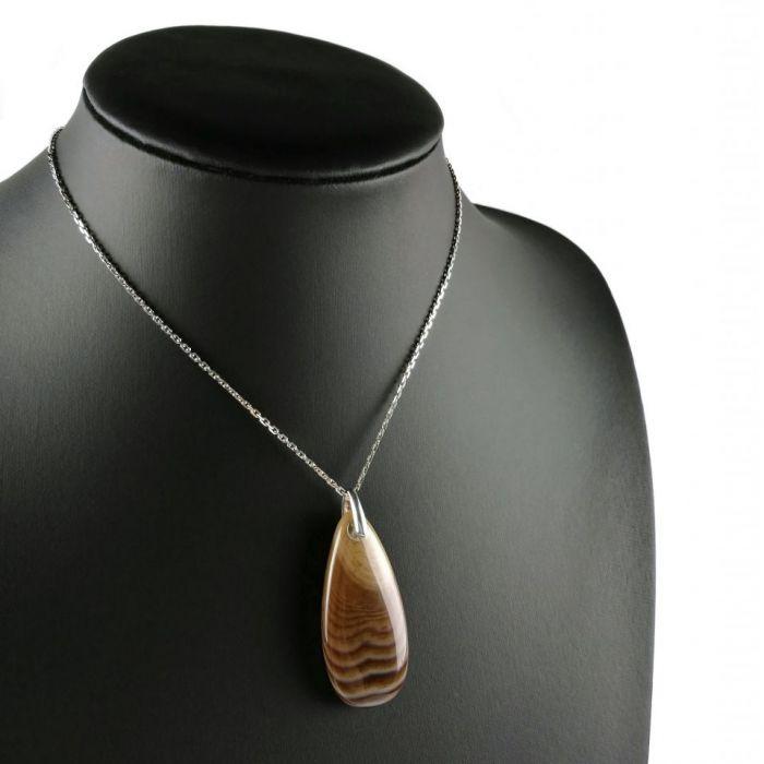 Duży srebrny wisiorek z agatem, Agat, Srebro - srebrny wisiorek z brązowym agatem