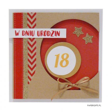 Czerwony balon kartka 18 urodziny
