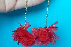 Kolczyki czerwone, biżuteria boho, prezent