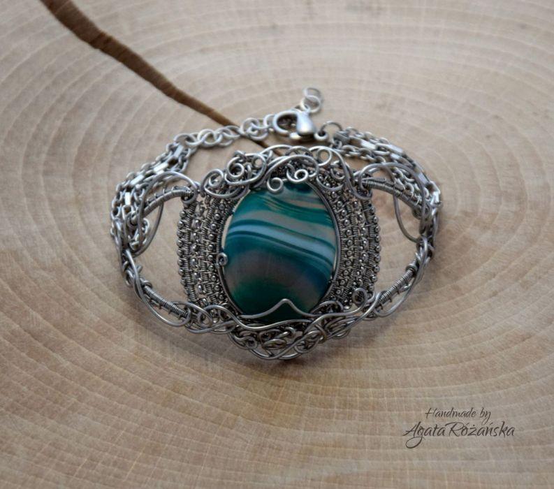 Bransoletka Agat zielony, wire wrapping