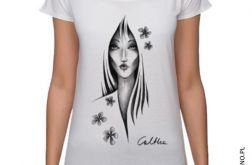 Kwiaty - koszulka oversize - biała