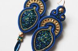 Niebiesko-złote kolczyki z żywicą