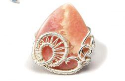 Rodohrozyt, srebrny pierścionek z rodohrozitem