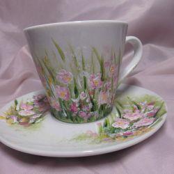 Filiżanka ręcznie malowana różowe kwiatki