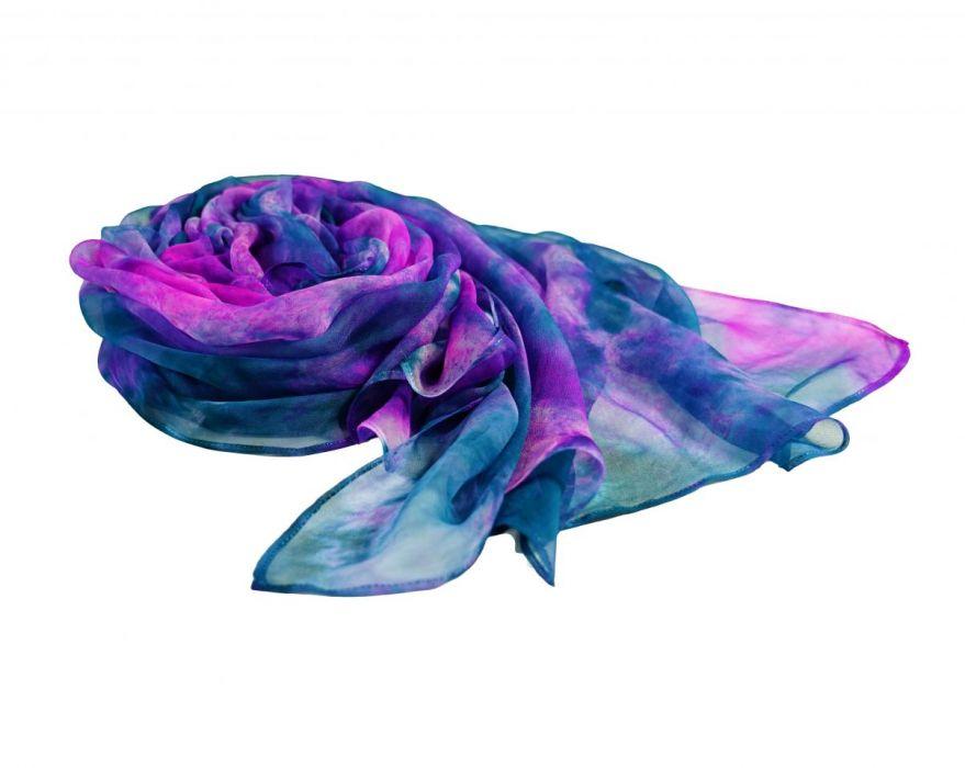 Ręcznie barwiony szal jedwabny /306/ - szal jedwab dla kobiety