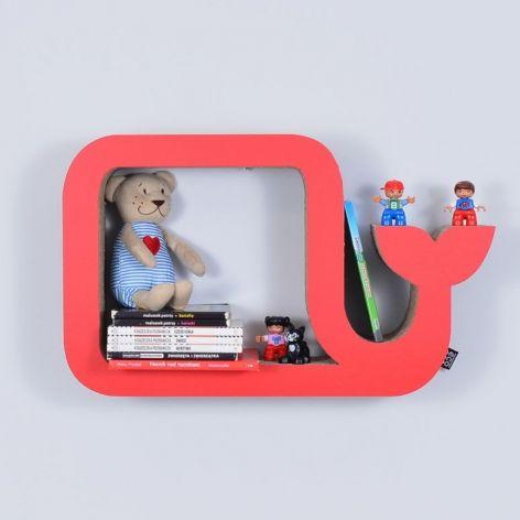 Półka na książki WIELORYB | czerwony