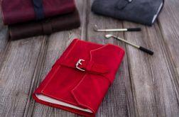 Ręcznie robiony skórzany notes A5 czerwony