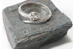 100 pierścionek vintage, wąż, żmija, srebrny,