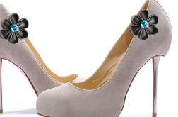 gray kanzashi - broszki do butów