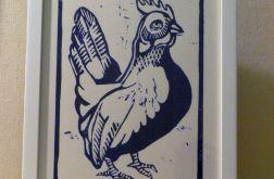rustykalna grafika kura linoryt niebieski