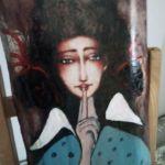 Anioł ciszy - akryl na desce - widok