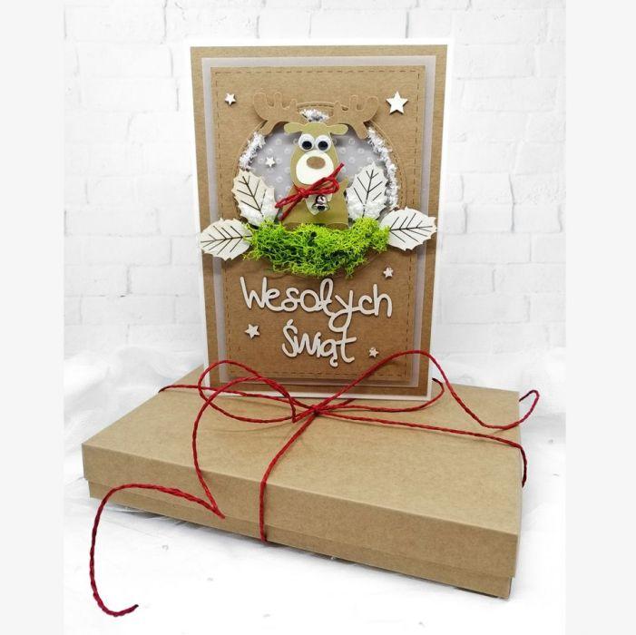 Kartka w pudełku z mchem renifer BNR 023 - Kartka w pudełku na boże narodzenie z mchem i reniferem (2)