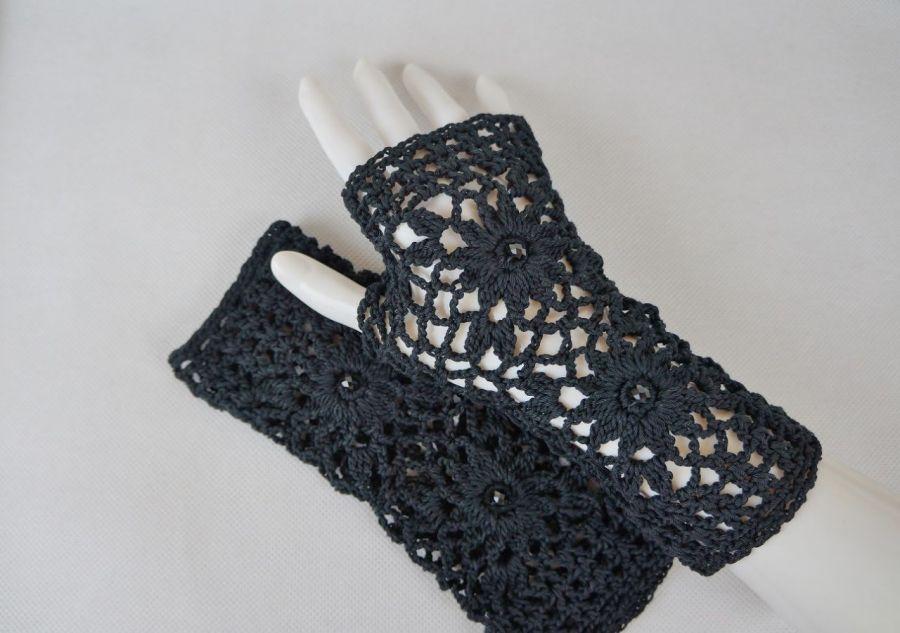 Rękawiczki, mitenki handmade czarne