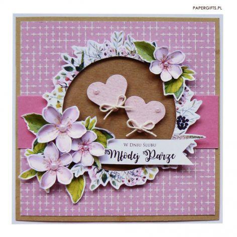 Kartka ślubna liliowa z sercami i kwiatami