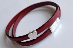 Bransoletka czerwona skóra + serce