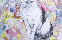 Kot w irysach