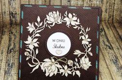 Kartka ślubna -turkus i brąz