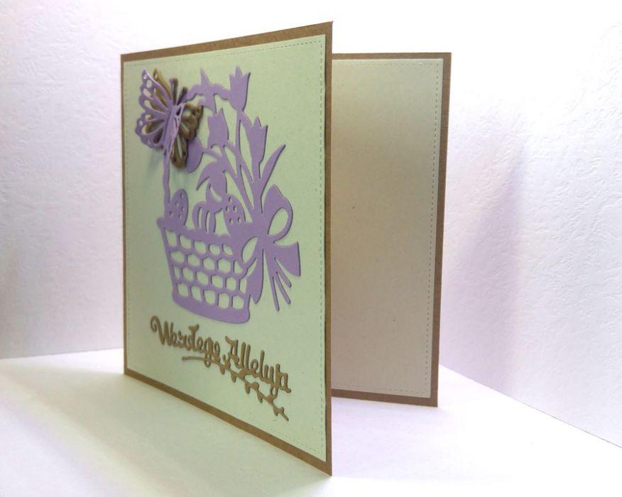 Kartka wielkanocna - fioletowy koszyczek - do samodzielnego wypisania