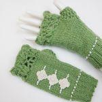 Mitenki handmade wełna zielone - Mitenki szydełkowe