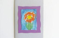 Kartka popielata z kwiatkiem 6
