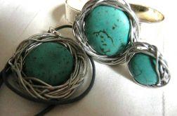 Turkusy w drucie, wisior, bransoleta, pierścionek
