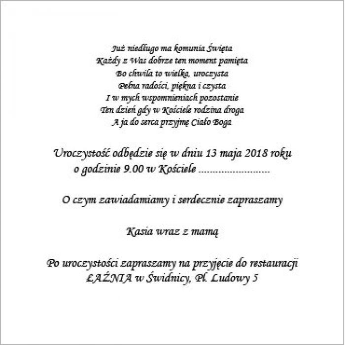 Zaproszenie na Komunię z hostią ZAK2115 -