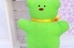 Miś przytulanka - zielony w białe kropeczki