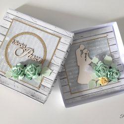 Kartka na ślub z pudełeczkiem z kwiatami zielone róże
