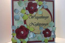 Kartka z bordowymi kwiatkami